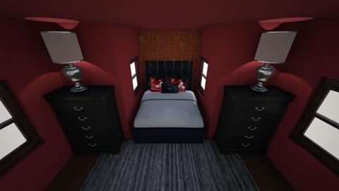 Red and Black Bedroom - Bedroom  - by TheDino