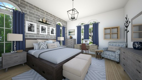 Navy Tan - Eclectic - Bedroom  - by CreativeCE
