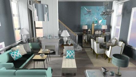 creamy turquoise - Retro - Living room  - by misshazirah