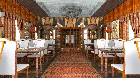 Orient express dining car - Retro - Dining room  - by auntiehelen