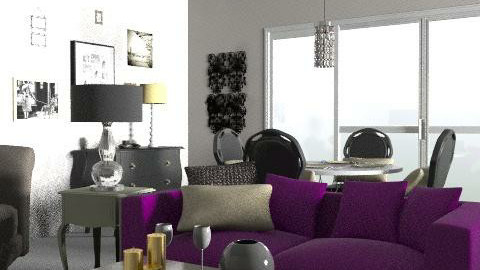 glamour, black, gold, purple - Glamour - Living room  - by rehab