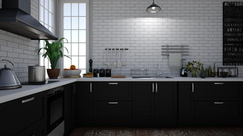 kitchen wooden floor - Modern - Kitchen  - by Briianaaa