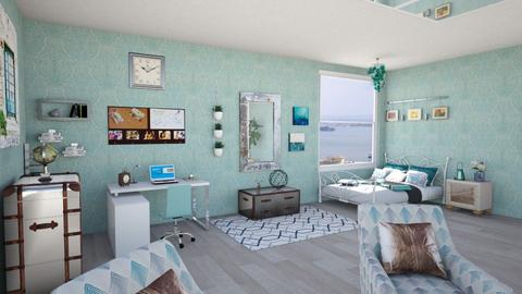 Calm Turquoise with Metal Accents A3 - Bedroom - by chillycrush