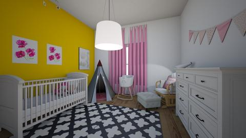 Yellow and pink - Classic - Kids room - by elizabethwatt16