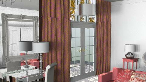 Coral and Silver - Glamour - Bedroom  - by toadfool