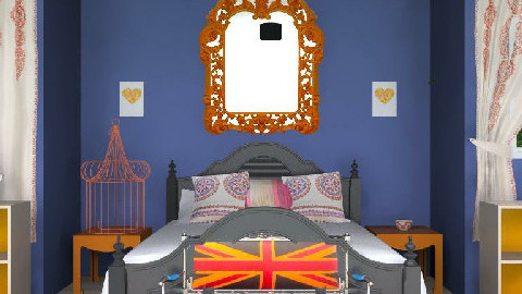 Orange, navy, and black bedroom - by Mieke ten Have