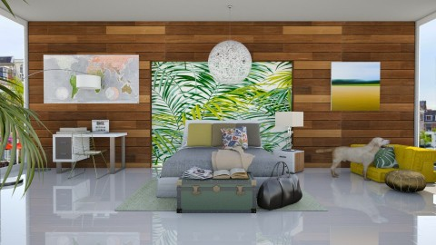 Leaf and Wood Bedroom - Modern - Bedroom  - by bgref