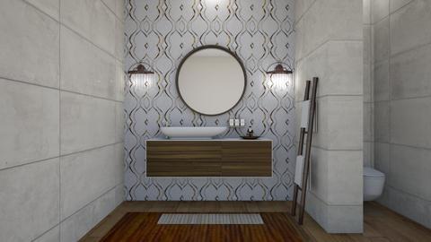 mirror stone bathroom - Bathroom  - by rickglassinteriors