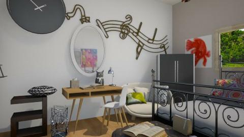 StudentBedRoom - Feminine - Bedroom - by Noella Louisy