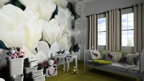 white tulips room - Retro - Bedroom  - by Piechowiak Monika