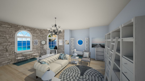 Blue knowledge room - Classic - Living room  - by jeushalumley