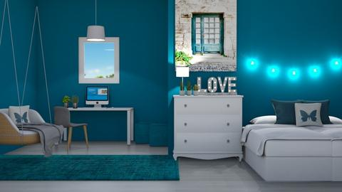 Teal dorm - Bedroom  - by DarcieM88