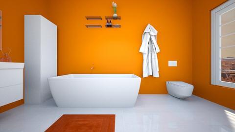 Orange and white bathroom - Modern - Bathroom  - by Agamanta