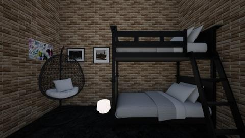 Cosy Teen black bedroom - Bedroom  - by hannahelise