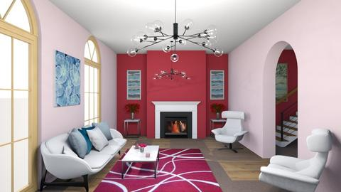 Red beige and white - Living room  - by Merily