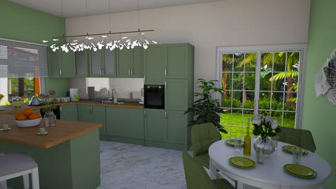 Green kitchen  - Dining room - by nellica