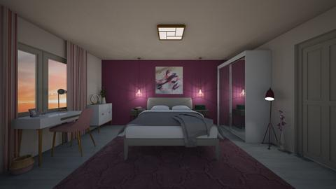 Pink and Purple Bedroom - Bedroom  - by CafuneDesign