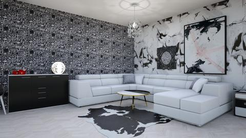 black and white living - Living room  - by goldenfang11