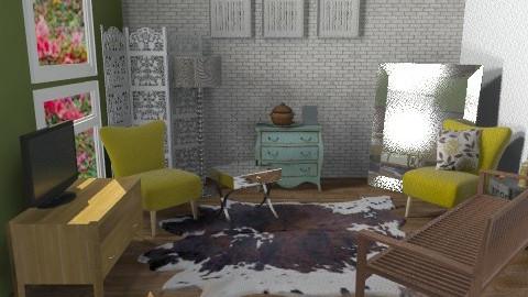 green  - Rustic - Living room  - by sahfs