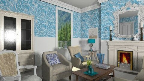 Wallpapered Living Room - Vintage - Living room - by Marxipan