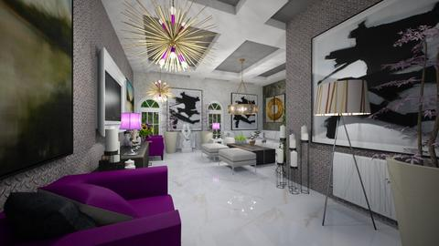 Purple_White_Silver_Living - Modern - Living room  - by Nikos Tsokos