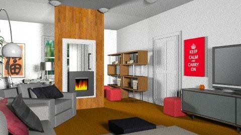 MF Vézina - Salon/Bureau rétro 5c - Retro - Living room  - by Yellow Moon Design
