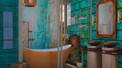 E14_Turquoise Bathroom - by allessa