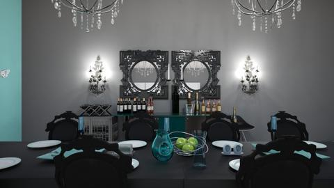 Kitchen Aqua Black White - Classic - by hevaxan