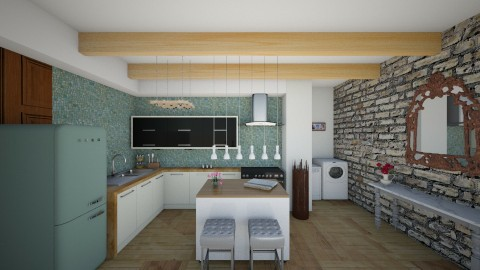 On floor - Rustic - Kitchen  - by Pao Azuela