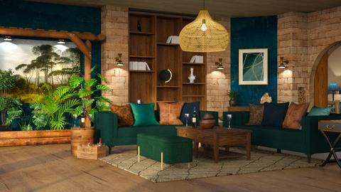 Wood brick and greens - Rustic - Living room  - by ZsuzsannaCs
