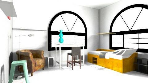 grey white red bedroom  - Vintage - Bedroom  - by DianaChoo