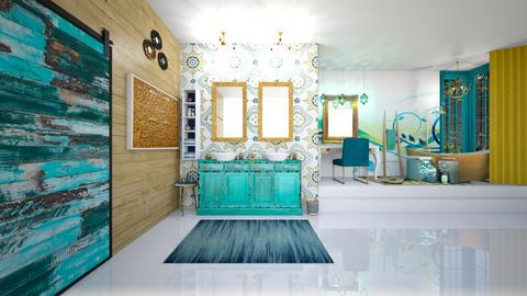 Turquoise and Gold Bath - by Feeny