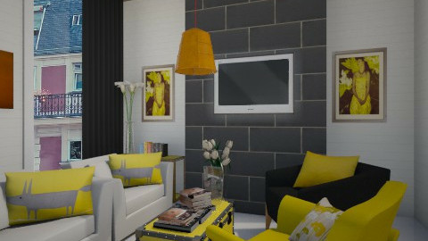 Yellow Touch - Rustic - Living room  - by ayudewi