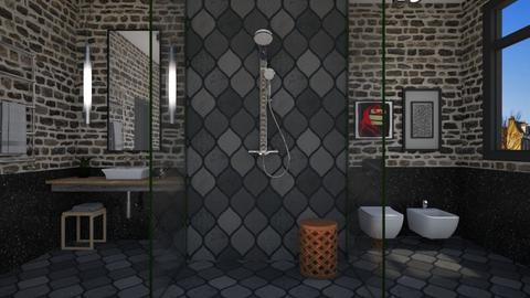 Dark Textures Shower - Modern - Bathroom  - by 3rdfloor