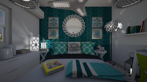 Habitacion Verde con turq - Bedroom  - by clasesytutorias