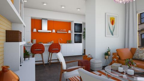 White orange apt - Modern - Living room  - by martinabb