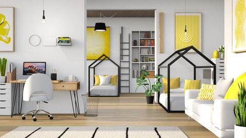Yellow Twins Room - Bedroom  - by Destiny Michelle