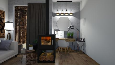wood and concrete - Rustic - Living room  - by KittyKat28