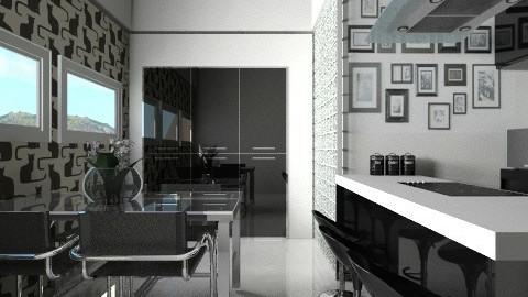 Cozinha preto e branca - Kitchen  - by Sanare Sousa
