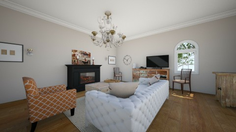 White With Subtle Orange - Rustic - Living room  - by LaughingDonut