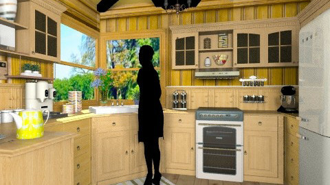 All Wood - Rustic - Kitchen  - by douaeazami12
