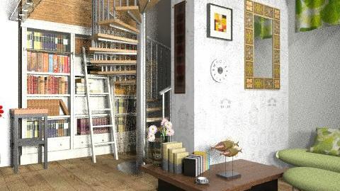 Library in the basement 3 - Modern - by Kjami