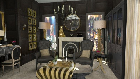 Black and Gold - Classic - Living room  - by Baustin