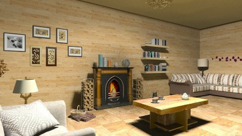 cozy log cabin - Living room - by Anmol Thomas