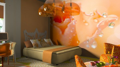 orange bed - Eclectic - Bedroom  - by chania