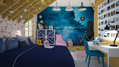 Blue bedroom - Bedroom  - by Liu Kovac