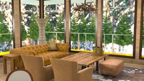 Logcabin - Rustic - Living room  - by camilla_saurus