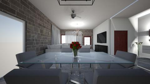 3BHK - Living room  - by Architectdreams
