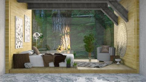 Forest Glass Wall - Rustic - Bedroom  - by millerfam
