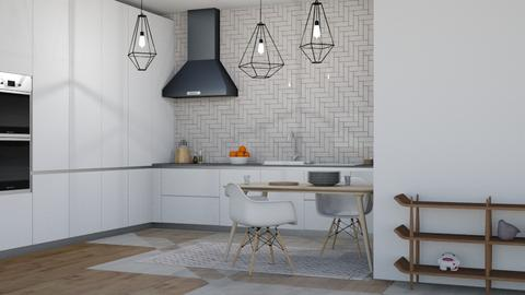 white - Modern - Kitchen  - by NEVERQUITDESIGNIT